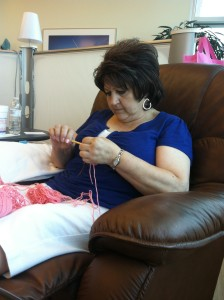 My mom crocheting during one of her chemo treatments.