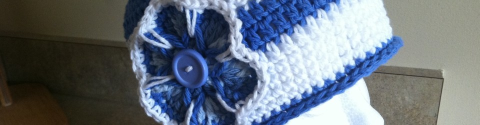 Blue & White Stripe Double Crochet Chemo Cap
