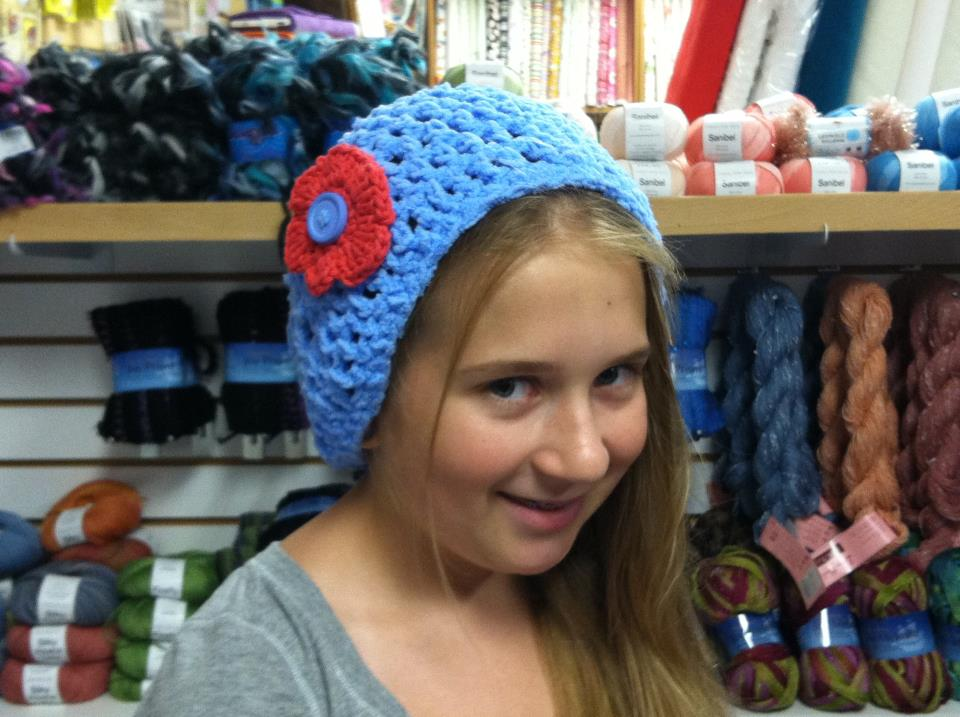 Cap Donated by Nathalie D.from Savannah, GA modeled by her daughter Hannah